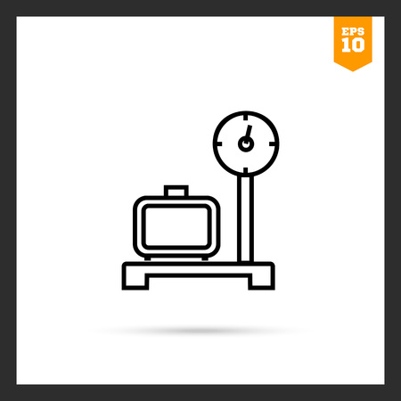 weighed: Icon of suitcase standing on scales and being weighed Illustration