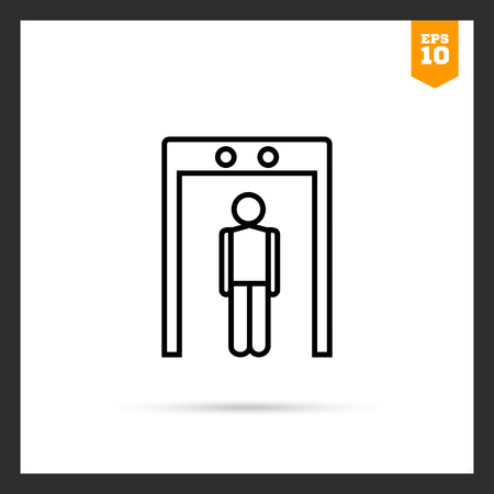 metal detector: Icon of man silhouette going through metal detector gate