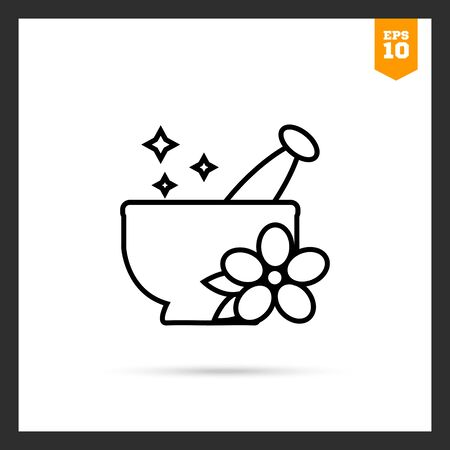 pestle: Icon of mortar and pestle with flower