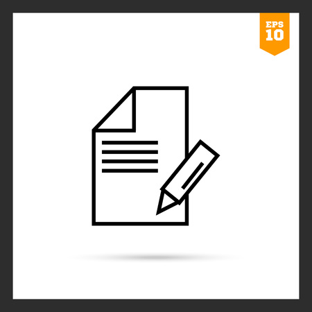taking notes: Icon of sheet of paper with pencil taking notes Illustration
