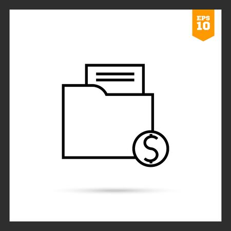 mutual: Icon of folder with paper document and dollar sign Illustration