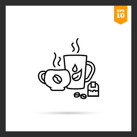 rational: Icon of tea and coffee cups, teabag and coffee beans