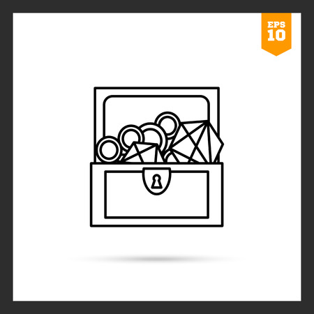 treasure trove: Icon of open treasure chest with diamonds and gold Illustration