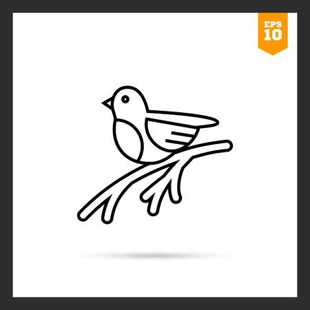Icon of bullfinch sitting on tree branch