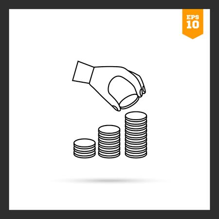 coin stack: Icon of mans hand putting coin  onto coin stack Illustration