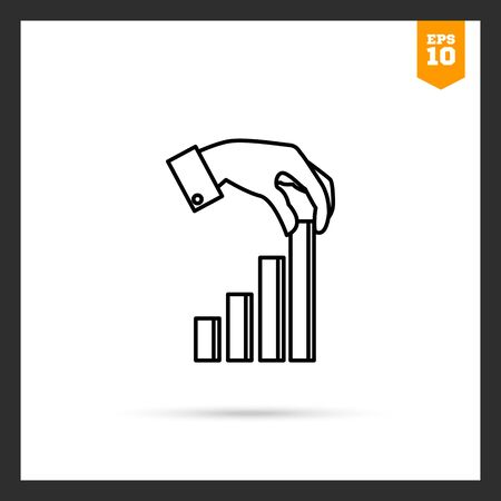 putting: Icon of mans hand putting last element of bar chart Illustration