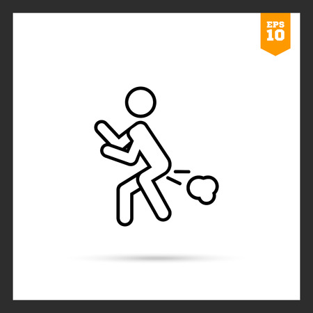 flatulence: Icon of mans silhouette with flatulence Illustration