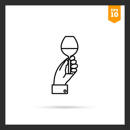 man holding transparent: Icon of mans hand holding glass with drink Illustration