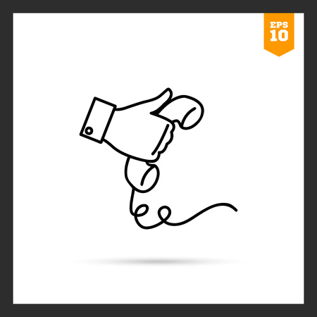 telephone receiver: Icon of mans hand holding telephone receiver
