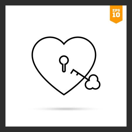 Icon of heart-shaped padlock with key Illustration