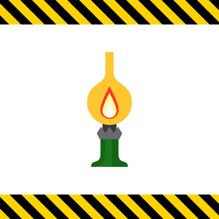 kerosene: Icon of kerosene lamp with flame inside