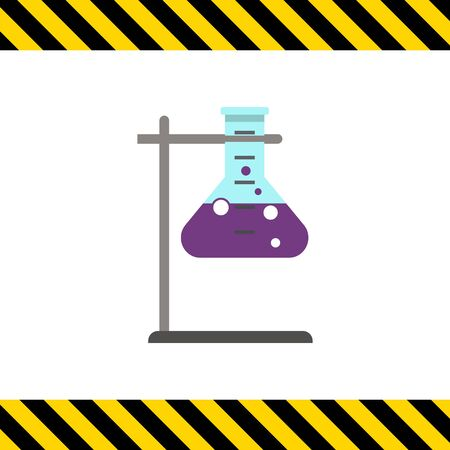 holder: Icon of chemical laboratory flask with bubbling liquid in holder Illustration