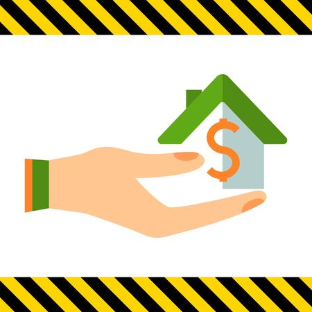 ownership: Icon of house with dollar sign on human palm