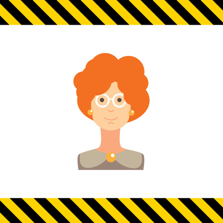 red hair: Female character icon, portrait of adult woman with curly red hair wearing glasses Illustration