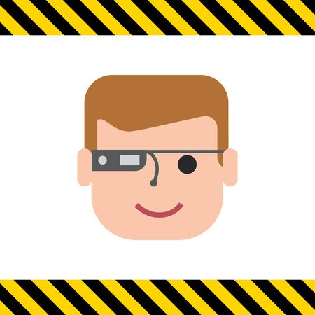 wearing: Vector icon of man wearing smart glasses Illustration