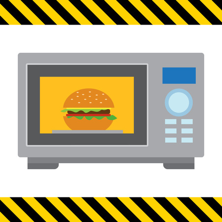 microwave ovens: Vector icon of kitchen microwave oven with hamburger inside