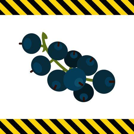 ripe: Vector icon of ripe black currant bunch