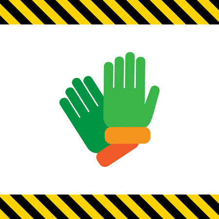 protective gloves: Vector icon of two protective rubber gloves