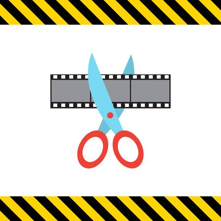 censorship: Vector icon of scissors cutting film shot