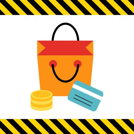 cashless: Icon of shopping bag, coin stack and credit card