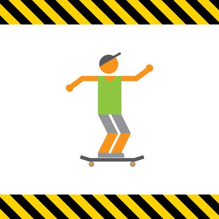 Icon of teenage skater boy
