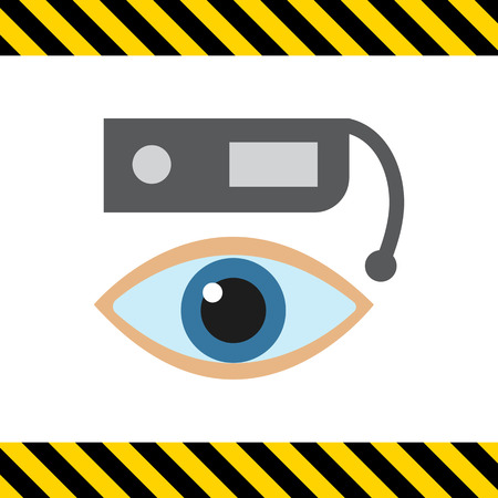human eye: Vector icon of smart glasses and human eye
