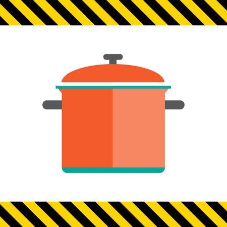 saucepan: Icon of red saucepan with lid Illustration