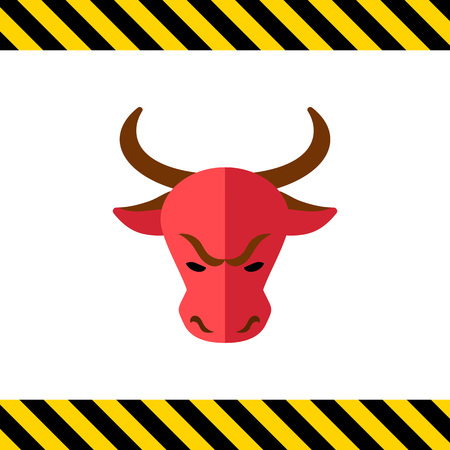 share prices: Icon of bulls head as stock market trend Illustration