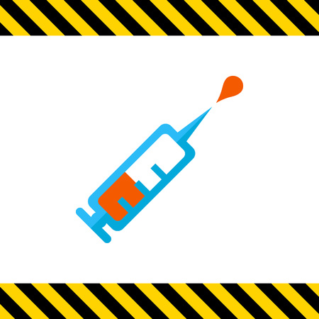 vaccine: Icon of syringe with vaccine droplet