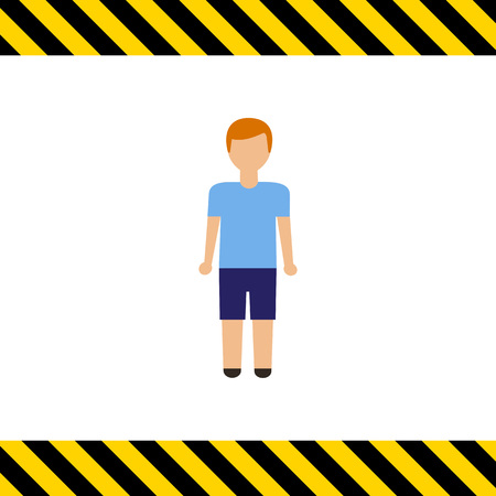 early teens: Icon of teenage boy wearing blue t-shirt and shorts Illustration