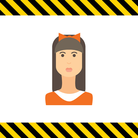 hair bow: Female character icon, portrait of teenage girl with long hair, fringe and bow on head Illustration