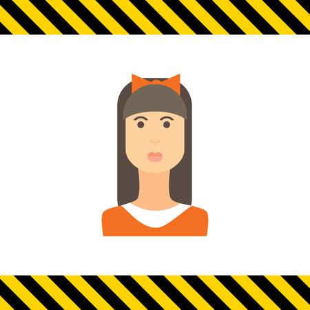 fringe: Female character icon, portrait of teenage girl with long hair, fringe and bow on head Illustration