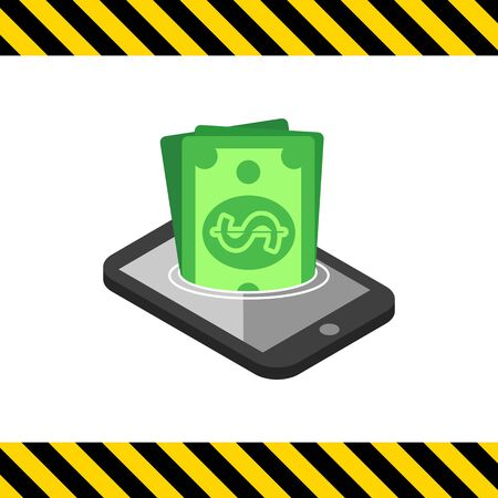 sinking: Icon of dollar banknotes sinking in smartphone screen