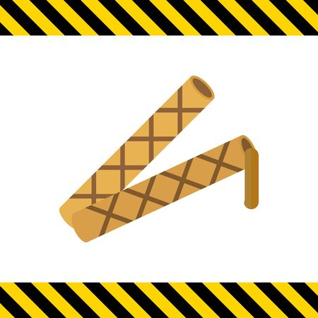 flowing: Icon of waffle tubes with flowing out chocolate filling Illustration