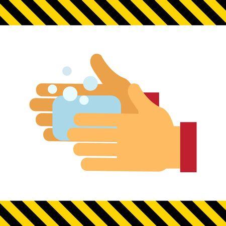 manos limpias: Icono del vector de la mano del hombre se lava con jabón