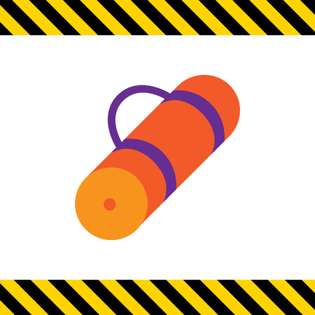 sport mats: Vector icon of rolled-up orange tourist mat Illustration