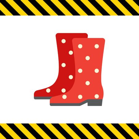 rubber boots: Vector icon of red dotted rubber boots