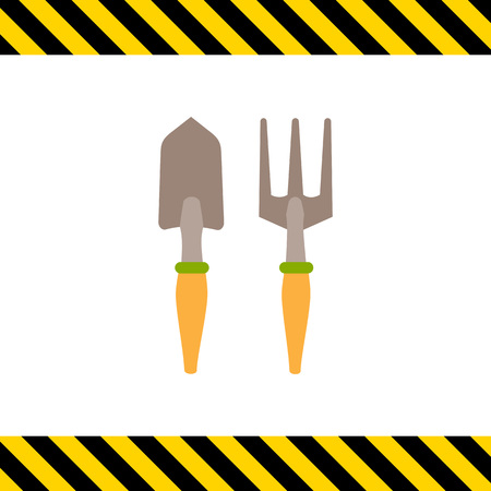 Vector icon of garden scoop and hand rake