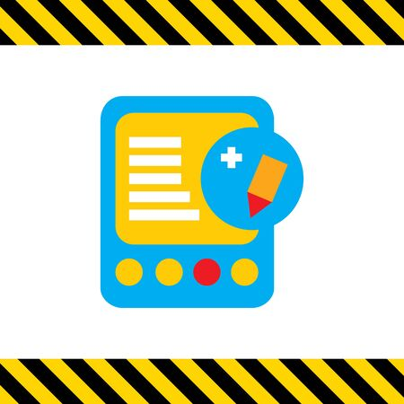 edit icon: Icon of tablet computer with pencil and plus sign depicting edit icon
