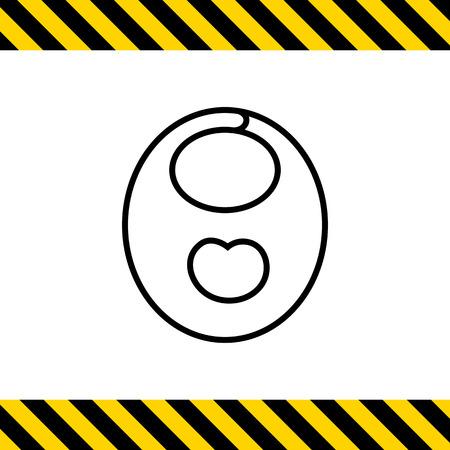 babero: Icono del babero del bebé con la impresión de manzana