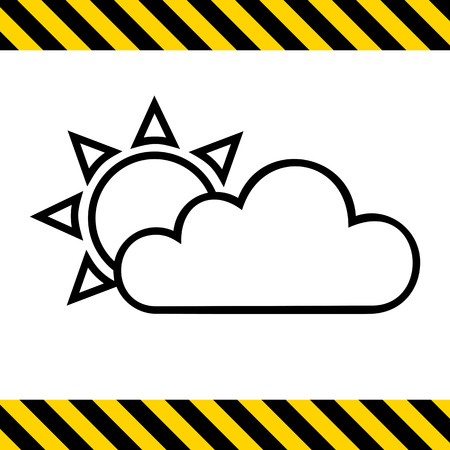 precipitation: Icon of sun covered with clouds