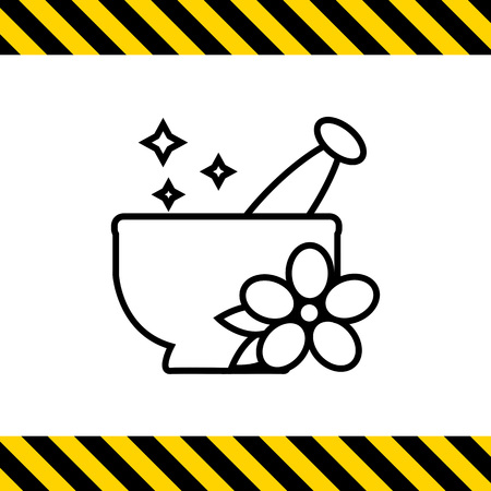 mortar and pestle: Icon of mortar and pestle with flower
