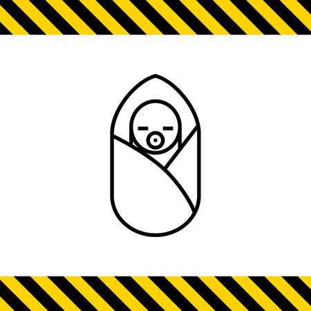sleeping bag: Icon of newborn baby with pacifier in sleeping bag