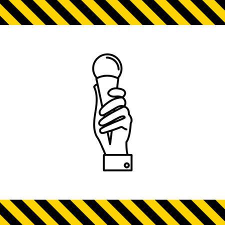 waffle: Icon of mans hand holding ice cream in waffle cone Illustration