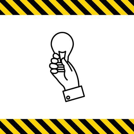man holding transparent: Icon of mans hand holding lightbulb