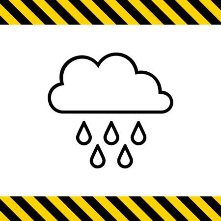 precipitation: Icon of clouds and falling raindrops