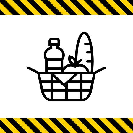 canasta de pan: Icono de la cesta de picnic Vectores