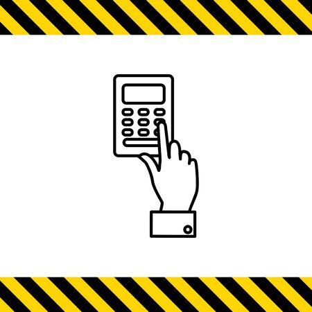 mans: Icon of mans hand pressing ATM keypad