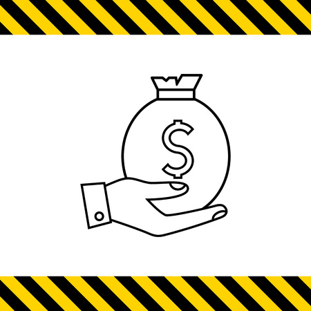 hand holding money bag: Icon of mans hand holding money bag with dollar sign
