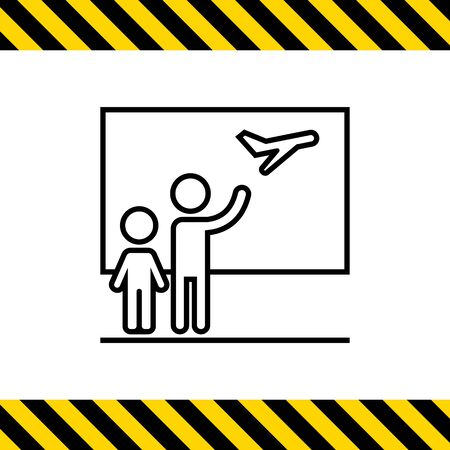 Icon of two people silhouettes seeing someone off at airport